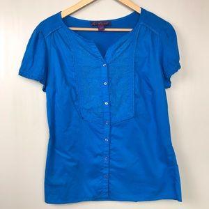 Gloria Vanderbilt Small Aqua Short Sleeve Top